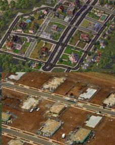 Top: Houses laid out  in Simcity looks eerily similar to the houses being constructed in Truganina.