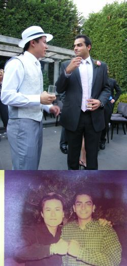 Top: Old friends unite at my wedding, March 2009. Bottom: Modelling for a charitable organisation as we are such good lookers, circa 1998.